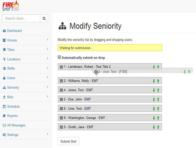 Screenshot of Seniority Modification for Administrators by Drag and Drop